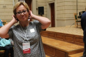 Iryna Podolyak podczas III Kongresu Kultury Partnerstwa Wschodniego weLwowie. Fot.Leonid Golberg. 2015
