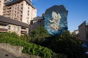 """Mural """"Labirynt"""", autorstwa rosyjskiego artysty Rustama QBic"""