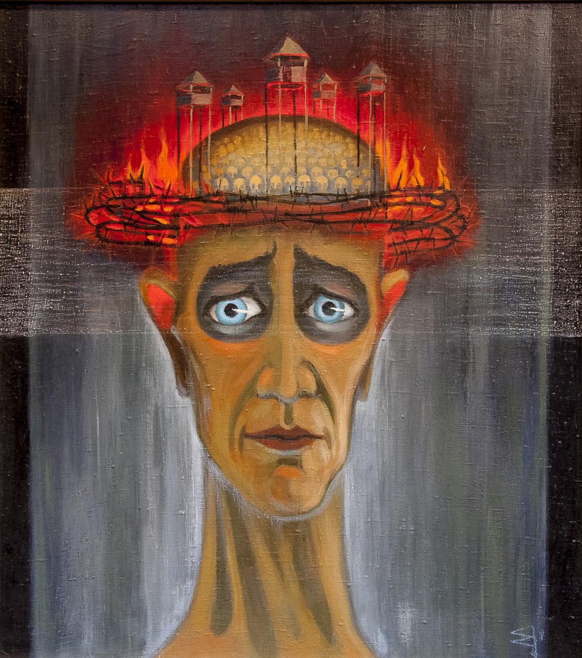 ultury litewskiej artysta, wielokrotnie nagradzany. Więzień stalinowski m.in.wIrkucku do1956 r. [Obraz: twarz zasmuconego człowieka ozapadniętych, dużych, niebieskich oczach zpłonącym wczerwieni mózgiem, naktóregokomórkach wyrastają strażnicze wieże obozu koncentracyjnego