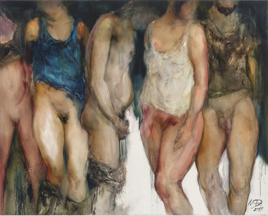 Obraz olejny: Pięcioro półnagich osób tylkowpodkoszulkach.