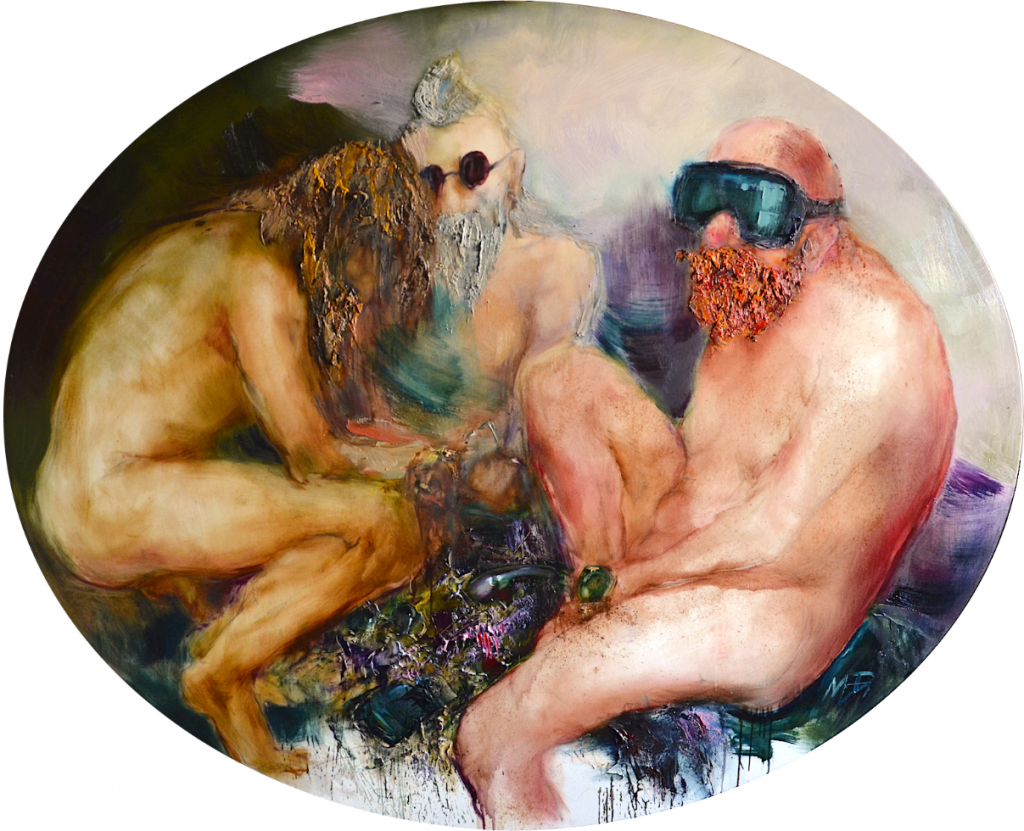 Obraz: Trzy nagie osoby wokularach.