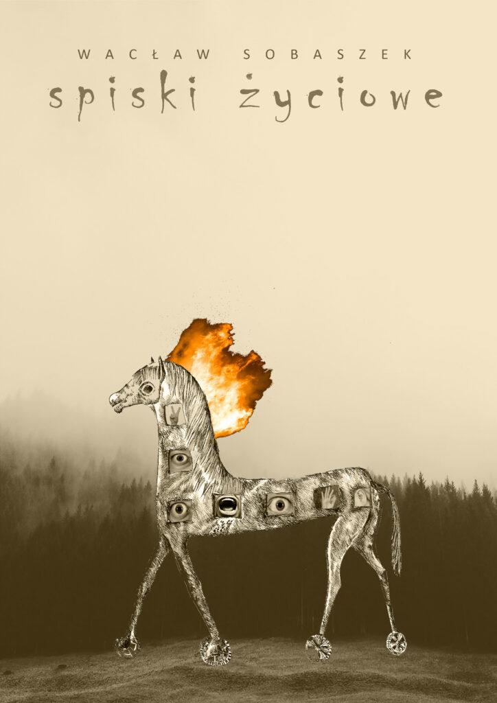 Okładka książki zpalącą się głową konia trojańskiego.