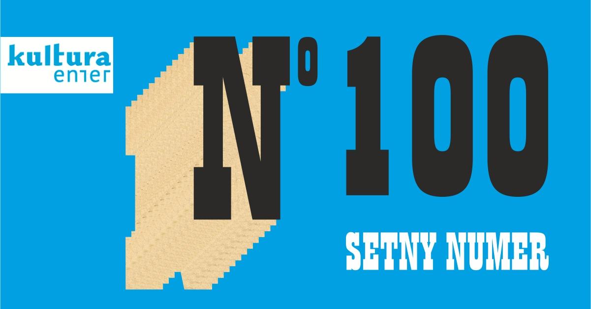 Grafika: naniebieskim tle numer sto.